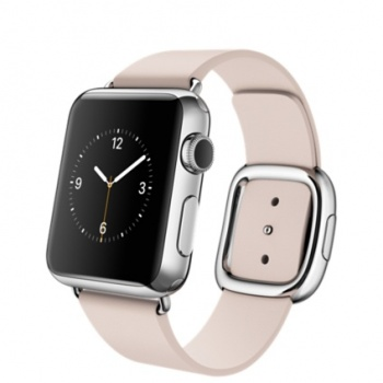 Apple Watch 38 mm, aço, bracelete rosa-claro e fivela média