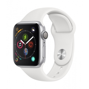 Apple Watch 4 GPS, 40 mm - Prateado com bracelete desportiva