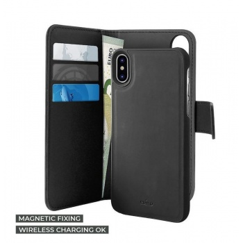 Capa para iPhone XS PuroMagnet  Eco-Leather - Preto
